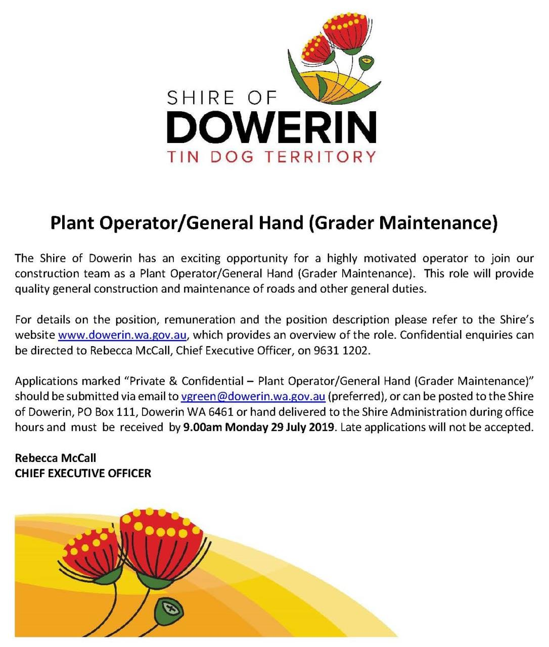 Employment Opportunity - Plant Operator / General Hand (Grader Maintenance)